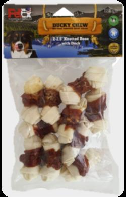 עצם לעיסה לכלב עטופה בבשר ברווז איכותי במשקל כולל של 120 גרם