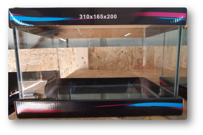 אקווריום פינות חזית מעוגלות דגם 30 מידות:  310X165X200