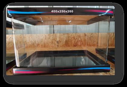 אקווריום פינות חזית מעוגלות דגם 40 מידות: 400X250X260