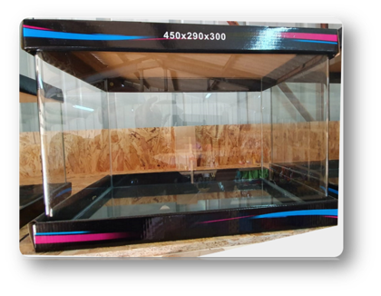 אקווריום פינות חזית מעוגלות דגם 45 מידות: 450X290X300